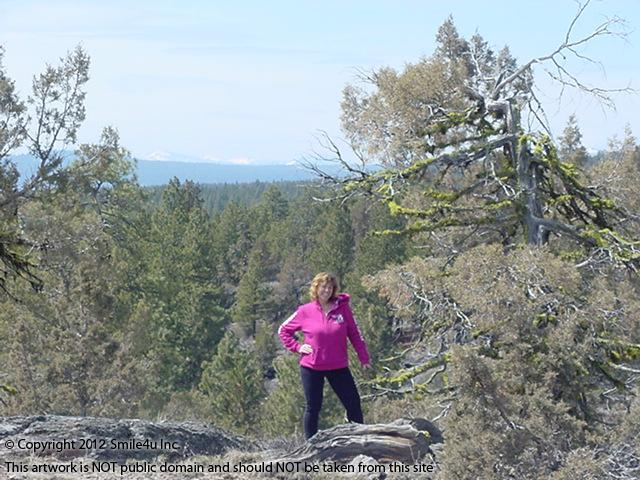I scrambled up the rock outcropping at the top of this land and found such beautiful views across the Winema National Forest, all the way to the Cascase Mountains! I could see for miles up here! My job doesn